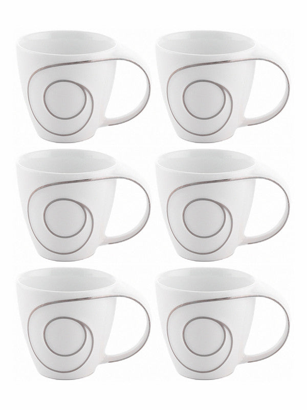 WHITE GOLD Porcelain Tea & Coffee Mug with Silver Print (Set of 6pcs) WG-4616S