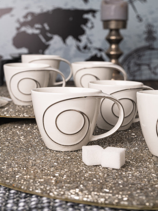 Porcelain Tea & Coffee Mug with Silver Print (Set of 6pcs) WG-4617S