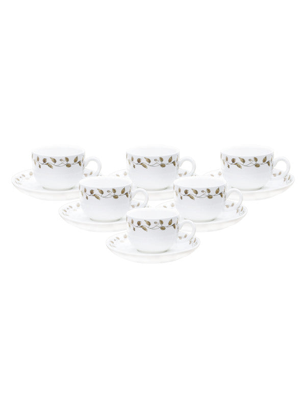 WHITE GOLD Porcelain Cup Saucer Set with Real Gold Design (Set Of 12 Pcs) WG-5008-C