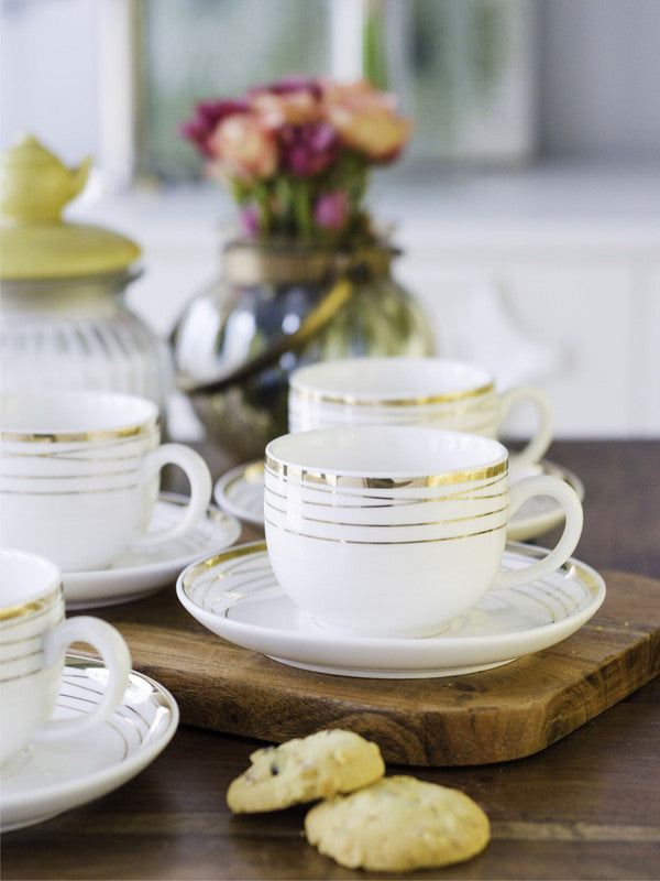 WHITE GOLD Porcelain Cup Saucer Set with Real Gold Design (Set Of 12 Pcs) WG-5008-H