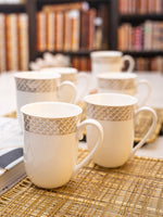 Porcelain Tea & Coffee Mug with Gold Print (Set of 6pcs) WG-5306-7081
