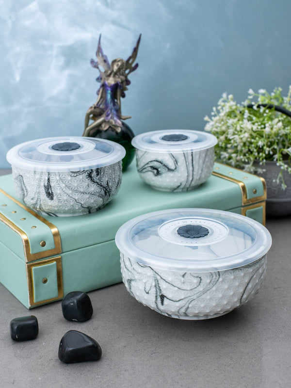 WHITE GOLD Porcelain Airtight Bowl with Plastic Lid in Marble Effect (Set of 3 pcs) WG-5601-3-GRY