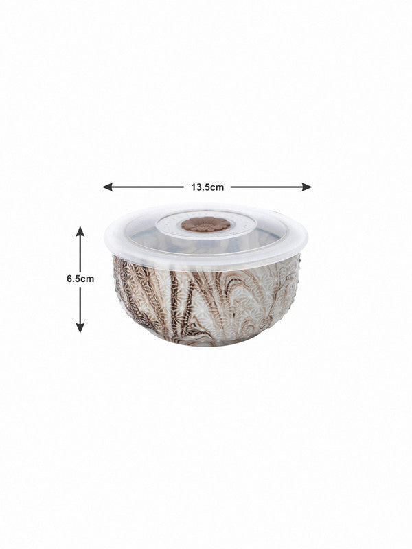Porcelain Airtight Bowl with Plastic Lid in Marble Effect (Set of 2 pcs) WG-5603-2-BRN