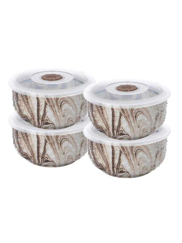 WHITE GOLD Porcelain Airtight Bowl with Plastic Lid in Marble Effect (Set of 4 pcs) WG-5603-4-BRN