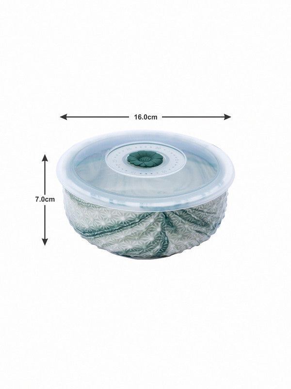 Porcelain Airtight Bowl with Plastic Lid in Marble Effect (Set of 2 pcs) WG-5607-2-GRN