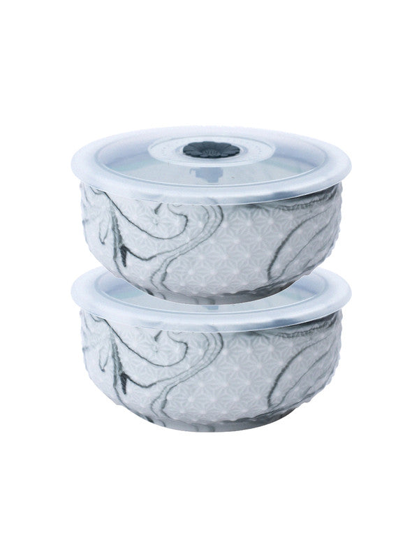 WHITE GOLD Porcelain Airtight Bowl with Plastic Lid in Marble Effect (Set of 2 pcs) WG-5607-2-GRY