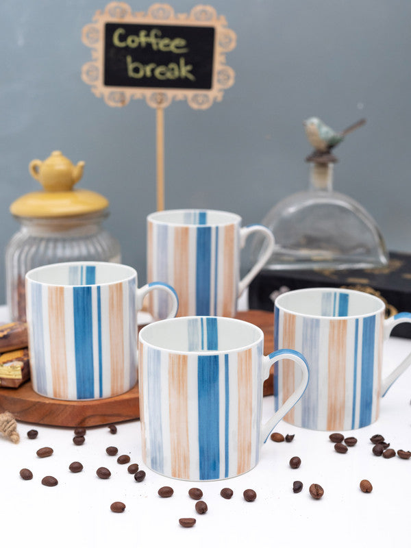 GOODHOMES Fine Bone China Tea Cups/Coffee Mugs with Stripes Print ( Set of 4 Cups ) WSGHMM17