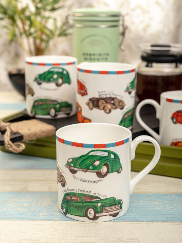 Bone China Tea Cups/Coffee Mugs with Vintage Cars Design (Set of 4 mugs) ZOEMM-133-4