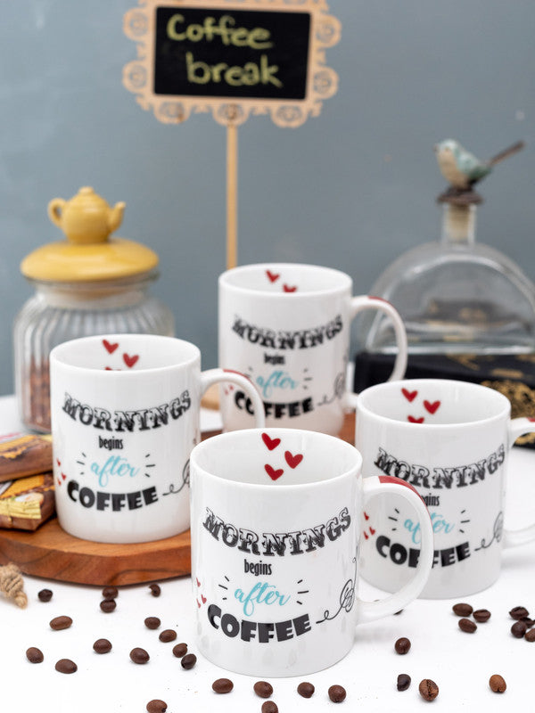GOODHOMES Porcelain Tea Cups /Coffee Mugs with Fun Wordings ( Set of 4 Cups ) WSGHMM22