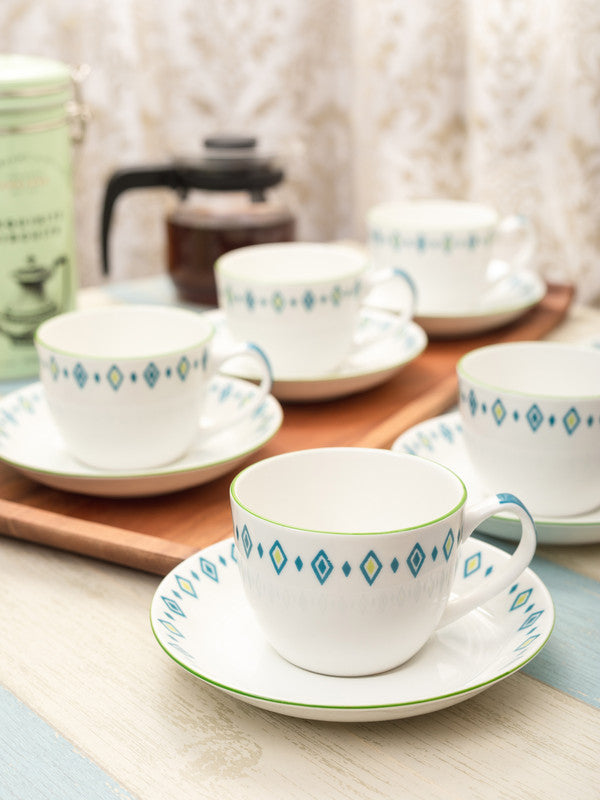 GOODHOMES Bone China Cup Saucer Set with Delicate Border Design (Set of 12 pcs) ZCS21