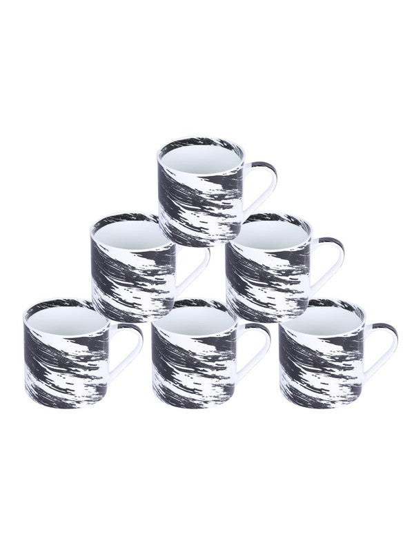 Bone China Coffee Mug Set with Inner Chain & Black Design. ( Set of 6 Cup ) ZOE-CM-1114