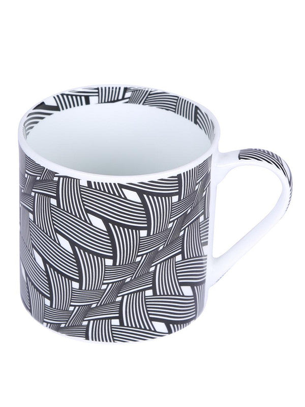 Bone China Coffee Mug Set with Inner Chain & Black Design. ( Set of 6 Cup ) ZOE-CM-1115