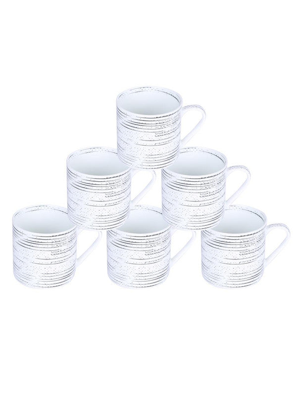 Bone China Coffee Mug Set with Inner Chain & Black Design. ( Set of 6 Cup ) ZOE-CM-1116
