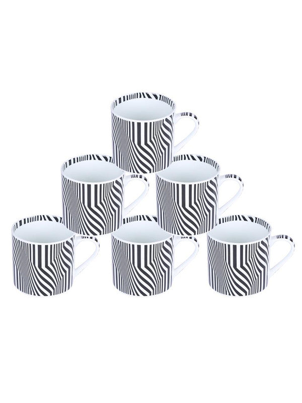 Bone China Coffee Mug Set with Inner Chain & Black Design. ( Set of 6 Cup ) ZOE-CM-1117