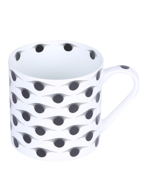 Bone China Coffee Mug Set with Inner Chain & Black Design. ( Set of 6 Cup ) ZOE-CM-1118
