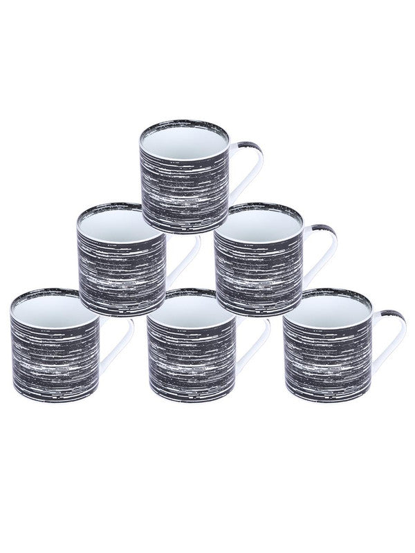 Bone China Coffee Mug Set with Inner Chain & Black Design. ( Set of 6 Cup ) ZOE-CM-1119