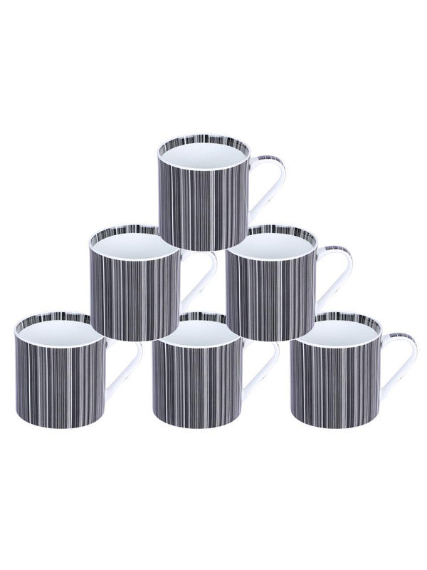 Bone China Coffee Mug Set with Inner Chain & Black Design. ( Set of 6 Cup ) ZOE-CM-1120