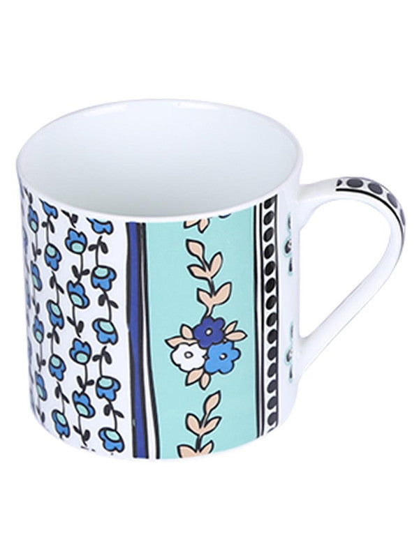 Bone China Coffee Mug Set with Multi Flower Three Design in Set. ( Set of 6 Cup ) ZOE-CM-126