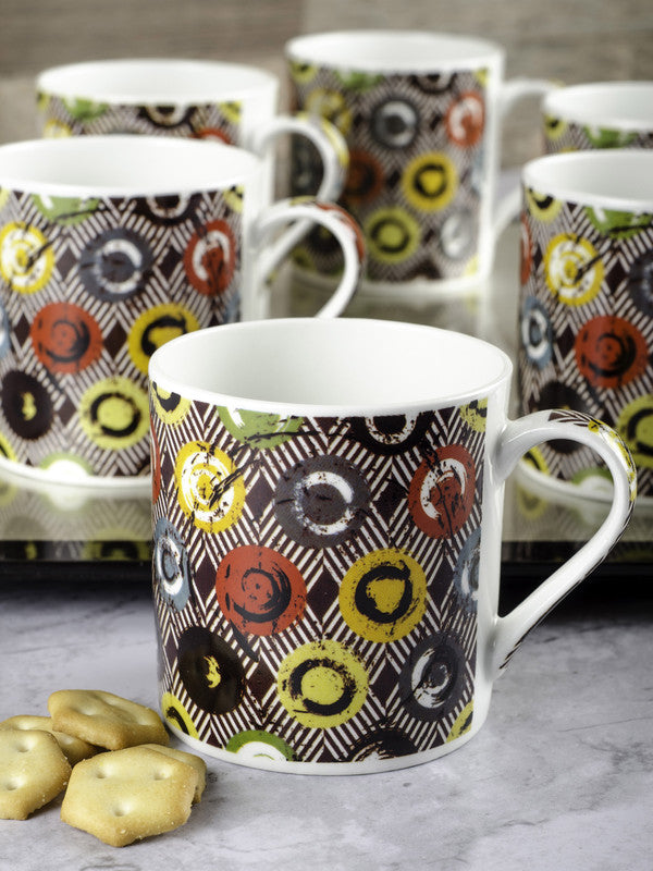 Bone China Tea Cups/Coffee Mugs with Geometric Design (Set of 6 mugs) ZOE-CM-135