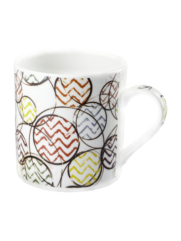 Bone China Tea Cups/Coffee Mugs with Geometric Design (Set of 6 mugs) ZOE-CM-137