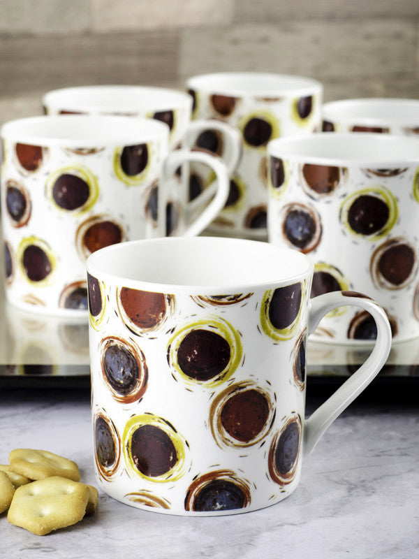 Bone China Tea Cups/Coffee Mugs with Geometric Design (Set of 6 mugs) ZOE-CM-139