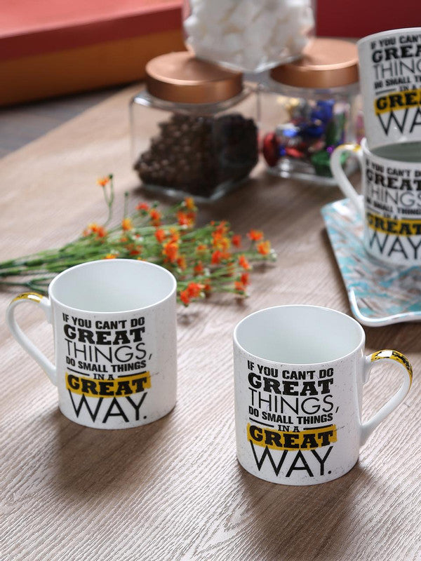 Bone China Mug Set with Great Way Slogan ( Set of 4 Cup ) ZOE-MM-12