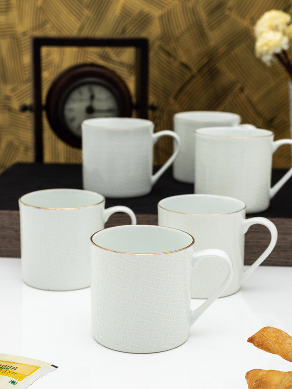 GOODHOMES Bone China Tea Cups/Coffee Mugs with Real Gold Line (Set of 6 Mugs)  ZOECM1107