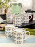 GOODHOMES Bone China Tea Cups/Coffee Mugs with Elephant Print (Set of 6 mugs) ZOECM1129