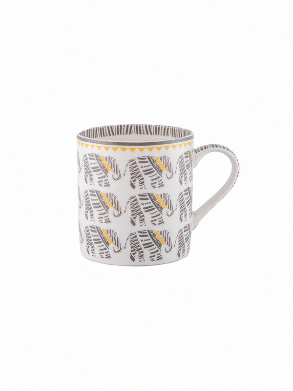 Bone China Tea Cups/Coffee Mugs with Elephant Print (Set of 6 mugs) ZOECM1129