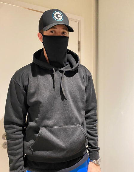 Hooded Sweatshirt with Built-In Mask - Black