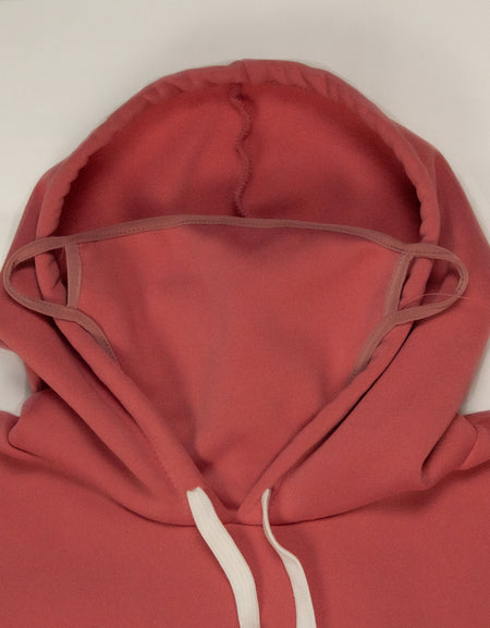 Hooded Sweatshirt with Built-In Mask - Pink