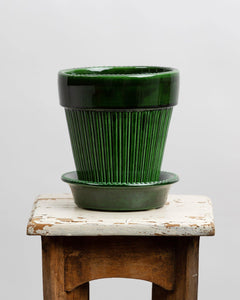 Handmade Berg's Simona 14cm Green emerald glazed terracotta house plant pot.