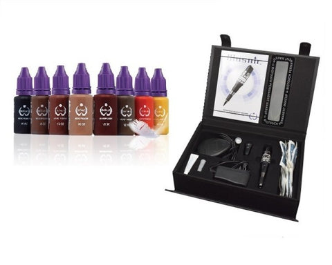 Biotouch MOSAIC Machine Deluxe Kit & 8 Bottles Microblading Pigments