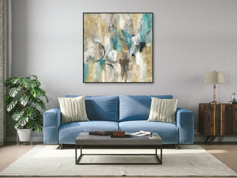 Large square abstract framed canvas art - oil painting with blue, green and yellow colours.