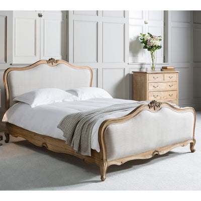 Debonair Collection Linen Upholstered Bed Chestnut - Husoe Home