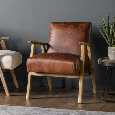 British Devise - Brown Leather Armchair - Husoe Home