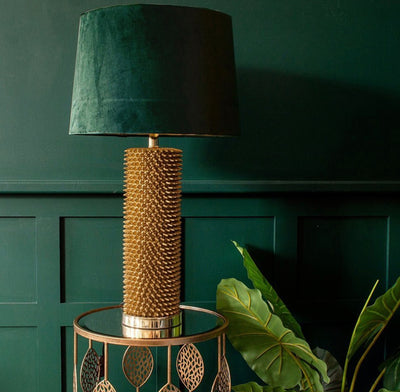 Antique Gold Acantho Table Lamp With Emerald Velvet Shade - Husoe Home