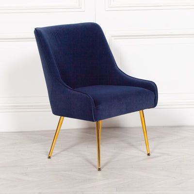 Auger Blue Velvet Chair - Husoe Home
