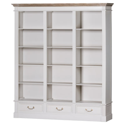 Knightsbridge Collection Large Three Drawer Display Bookcase - Husoe Home