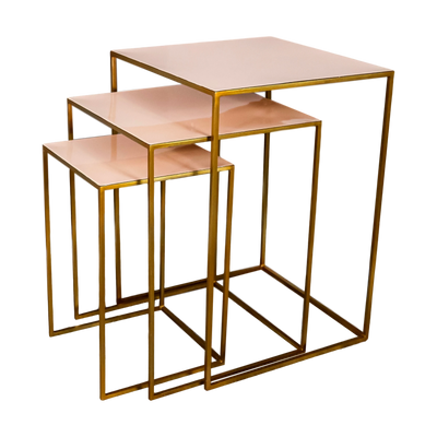 Gold and Blush Nest of Three Side Tables - Husoe Home