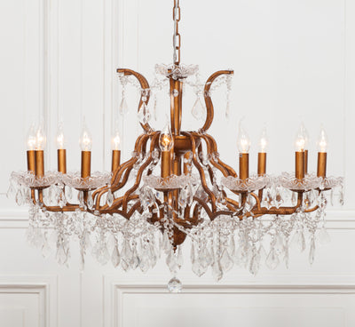 Saint-Dizier Gold 12 Branch Chandelier - Husoe Home