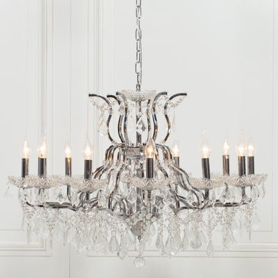 Clairvaux Antique Chrome 12 Branch Chandelier - Husoe Home