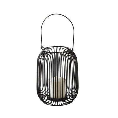 Black Wire Metal Candle Lantern With Glass Hurricane - Husoe Home
