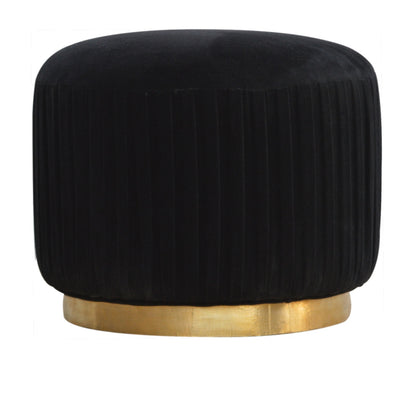 Plush Black Cotton Velvet Pleated Footstool with Gold Base - Husoe Home