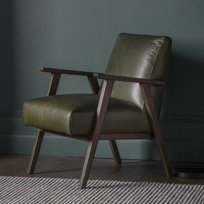 British Devise - Green Leather Armchair - Husoe Home
