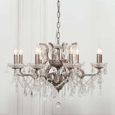 Cannes Antique Silver 8 Branch Chandelier - Husoe Home