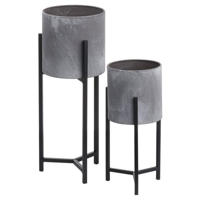 Two Tall Concrete Planters - Husoe Home