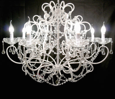 Troyes Large White 8 Branch Chandelier - Husoe Home
