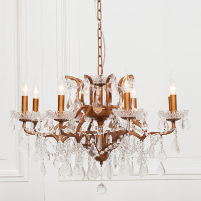 Sedan Gold 8 Branch Chandelier - Husoe Home