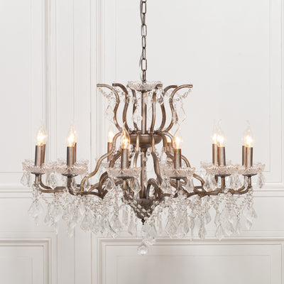 Chaumont Antique 12 Branch Chandelier - Husoe Home